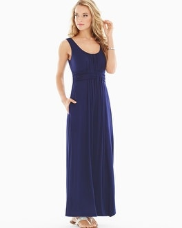 Sleeveless Wrapped Waist Maxi Dress Navy