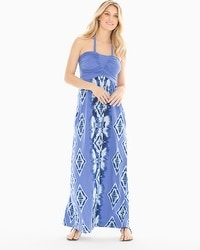 Halter Shirred Bodice Maxi Dress