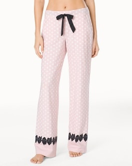 Embraceable Pajama Pants Big Dot Pink Bows Border