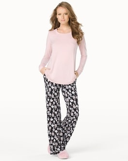 Embraceable Cool Nights Long Sleeve Pajama Pant Set Enticing Pink Romance