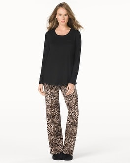 Embraceable Cool Nights Long Sleeve Pajama Pant Set Lovely Leopard Mini Black