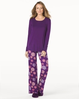 Embraceable Cool Nights Long Sleeve Pajama Pant Set Snowflake Majestic Plum