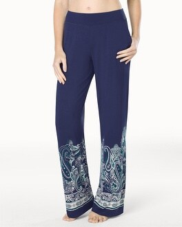 Embraceable Cool Nights Pajama Pants Sahara Paisley Navy Border