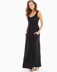 Sleeveless Wrapped Waist Maxi Dress Black