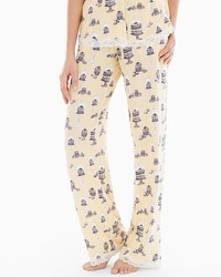 Embraceable Cool Nights Lace Trim Pajama Pants Patisserie Lemon