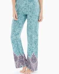 Embraceable Cool Nights Pajama Pants Lustrous Paisley Jade Border