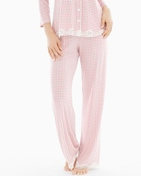 Embraceable Cool Nights Pajama Pants Gingham Blush Pink