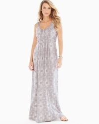 Sleeveless Wrapped Waist Maxi Dress Shibori Stripe Taupe