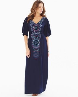 Luxe Caftan Maxi Dress Adornment Navy