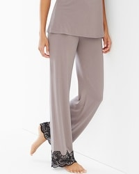 Coastal Floral Lace Pajama Pants Smokey Taupe/Black