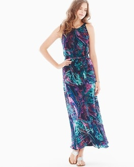 Woven Halter Maxi Dress Sensational Navy