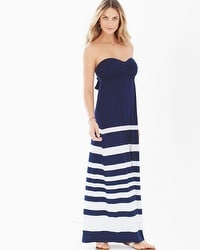 Bandeau Maxi Dress Crossover Stripe Navy