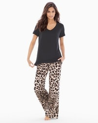 Cool Nights Pajama Set Lovely Leopard Natural