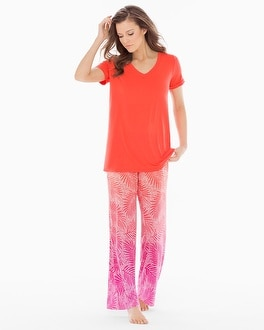 Cool Nights Pajama Set Bali Palms Guava