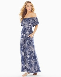 Flounce Strapless Maxi Dress Balmy Bloom Navy