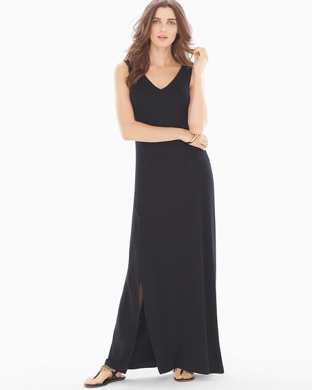 Front-Slit Maxi Dress Black TL