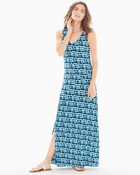 Front-Slit Maxi Dress Infused Peacock