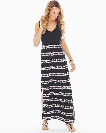 Side-Slit Draped Maxi Dress Infused Stripe Black
