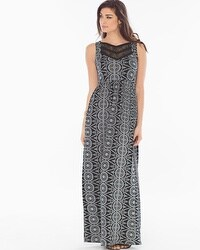 Lace Neckline Maxi Dress Eyelet Stripe Black