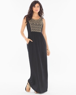 Embroidered Maxi Dress Black With Soft Tan Embroidery
