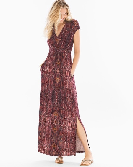 Surplice Maxi Dress Eccentric Stripe Marsala - RG