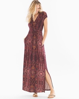 Surplice Maxi Dress Eccentric Stripe Marsala