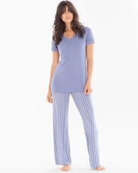 Cool Nights Pajama Set Finespun Stripe Blue Chill