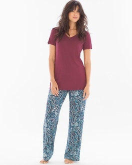 Cool Nights Pajama Set Paisley Poise Marsala