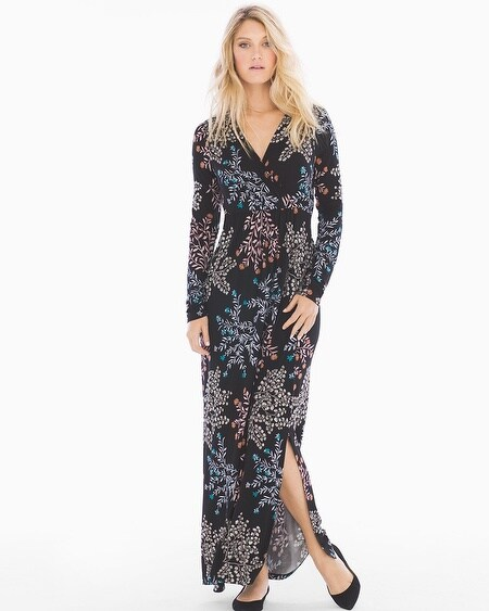 Long Sleeve Maxi Dress with Side Slit Free Spirit Multi TL