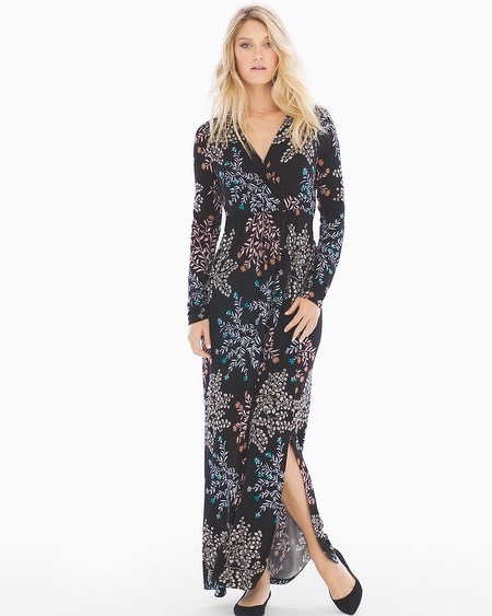 Long Sleeve Maxi Dress with Side Slit Free Spirit Multi RG