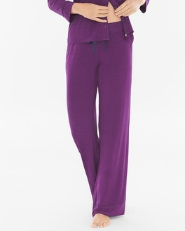 Cool Nights Pajama Pants Mod Dot Warm Plum