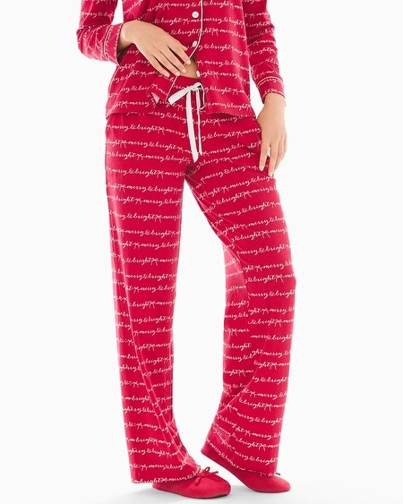 Pajama Pants Merry & Bright Words Ruby