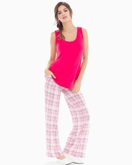 Cool Nights Tank Pajama Set Peace And Joy Plaid Pink