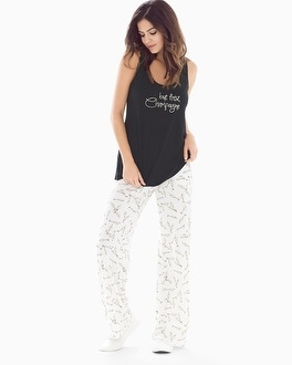 Cool Nights Tank Pajama Set Pass The Bubbly Black
