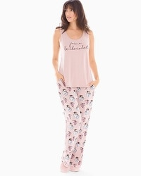 Cool Nights Tank Pajama Set Au Chocolat Vintage Pink