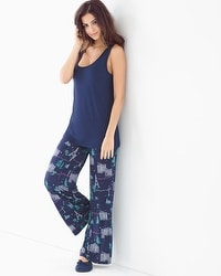 Cool Nights Tank Pajama Set Picturesque Navy