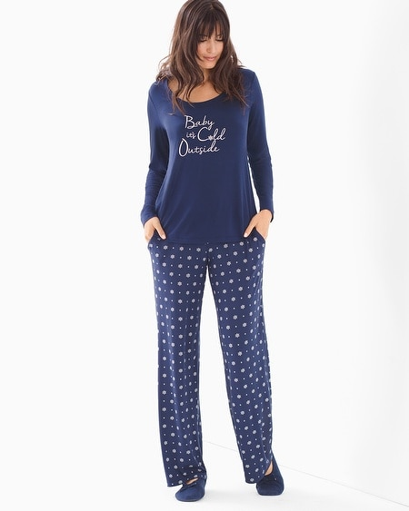 Scoopneck Long Sleeve Pajama Set Snowflake Dot Navy