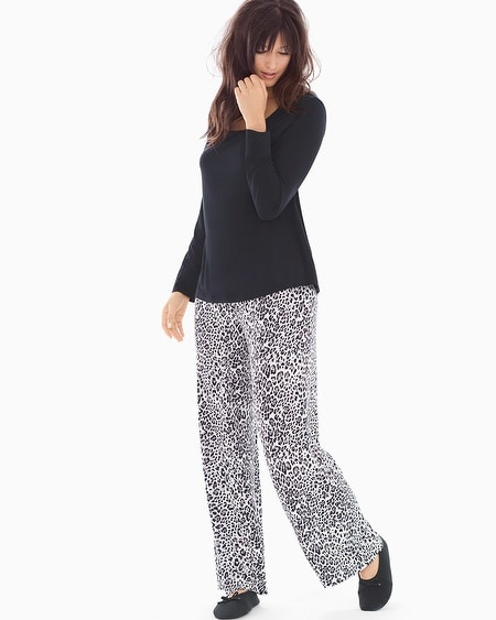 Scoopneck Long Sleeve Pajama Set Jaguar Mini Ivory Black
