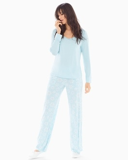 Cool Nights Scoopneck Long Sleeve Pajama Set Chillin Blue Crystal