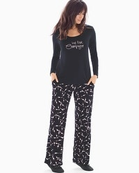Cool Nights Scoopneck Long Sleeve Pajama Set Pass The Bubbly Black