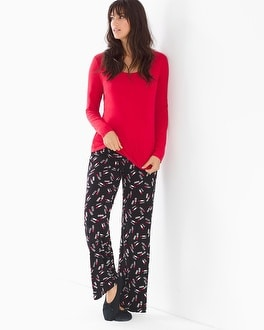 Cool Nights Scoopneck Long Sleeve Pajama Set Kiss Me Ruby