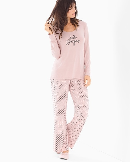 Scoopneck Long Sleeve Pajama Set Dreamy Dot Vintage Pink SH