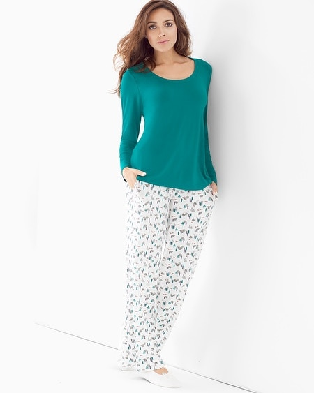 Cool Nights Scoopneck Long Sleeve Pajama Set Hush Scenic Green Envy