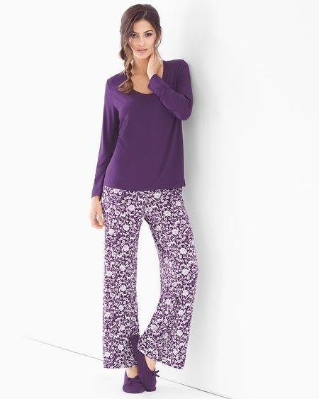 Cool Nights Scoopneck Long Sleeve Pajama Set Woodland Blackberry