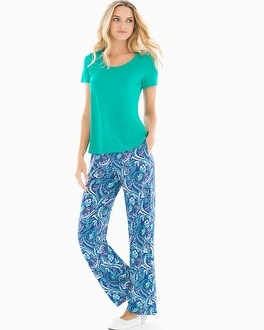 Cool Nights Short Sleeve Pajama Set Ambition Dynasty Green