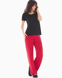 Cool Nights Short Sleeve Pajama Set Festive Dot Black