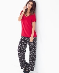 Cool Nights Short Sleeve Pajama Set Hush Scenic Ruby