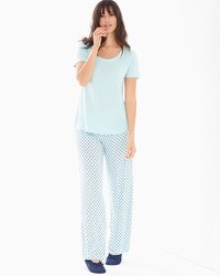 Cool Nights Short Sleeve Pajama Set Dreamy Dot Blue Crystal