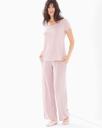 Cool Nights Short Sleeve Pajama Set Savvy Stripe Vintage Pink