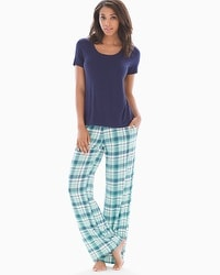 Cool Nights Short Sleeve Pajama Set Peace And Joy Plaid Blue